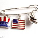 Tea Party Patriotic Pin Hat USA Flag tea pot Charms