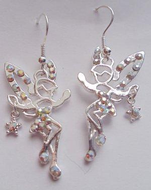 Shimmering Fairy Earrings silver crystal rhinestones