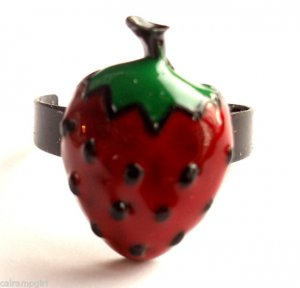 Small Strawberry Cocktail Ring Red Black Green adjustable band