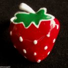 Large Strawberry Cocktail Ring Red White Green adjustable band
