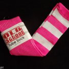 Old School Knee Socks sz 9-11 Tube Pink with White Stripes