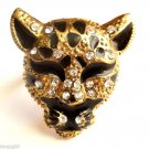 Leopard Cocktail Ring adjustable band  Gold clear crystal stones