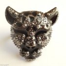 Leopard Cocktail Ring adjustable band  Antique Silver crystal stones