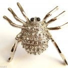 Large Silver Crystal Spider Cocktail Ring adjustable band clear stones