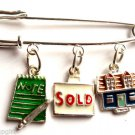 Real Estate Agent Bar Pin house Charms