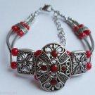 Tribal Style Red Silver Bracelet