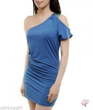 Teal Blue One Shoulder DRESS SEQUIN SHOULDER Size S M L