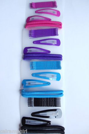 Barrettes Bobby Pins Ponytail Holders pink purple blue