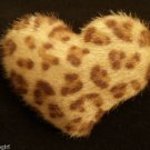 Brown Fuzzy Animal Print Heart cocktail Ring adjustable Leopard Cheetah