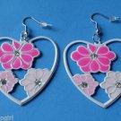 "2"" Pink White Heart Metal Flower Earrings Plumeria"