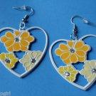 "2"" yellow White Heart Metal Flower Earrings Plumeria"