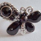Black Silver Adjustable Butterfly Cocktail Ring