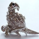 Silver Crystal Bird Parrot Cocktail Ring adjustable band Clear