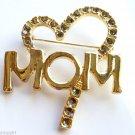 Mom Pin Brooch Crystals heart Gold