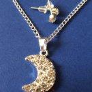 Silver Moon Necklace earrings set crystal Rhinestones