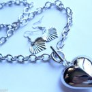 Puffy Silver Heart Toggle chain link Necklace earrings set