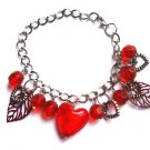 Silver Chain Charm Bracelet red Glass Hearts leaves