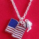 Tea Party Necklace Patriotic American Flag USA