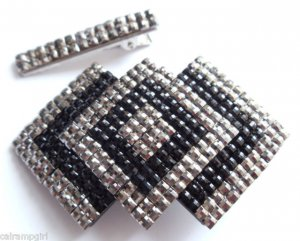 Set of 2 Triangular Jewled hair Clip claw with rhinestones Black Silver