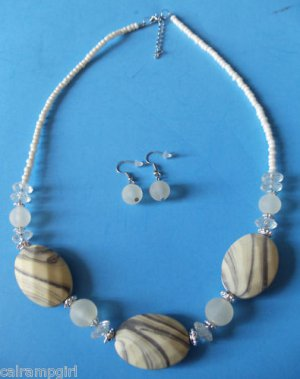 Pale Yellow Marble Beaded Necklace earrings set