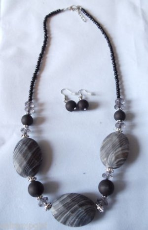 Black Gray Marble Beaded Necklace earrings set