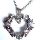 "Soft Pink Shimmering Crystal Heart Necklace 30"" silver chain"