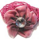 Pink Plumeria flower mesh Beaded Bracelet