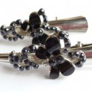 "Black Butterfly 3"" Silver Salon hair Clip set 2 claws"