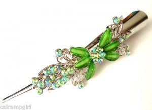 "Green Flower hair Clip 5"" Claw with crystals"