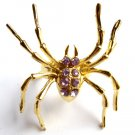 Large Gold Purple Crystal Spider Cocktail Ring adjustable band