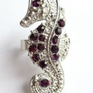 Purple Crystal Sea Horse Cocktail Ring Silver adjustable band
