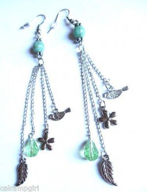 Turquoise Silver Earrings Green birds feathers flowers