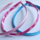 Satin Headbands set 3 designs Blue pink dots hearts