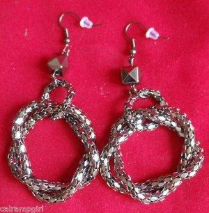 "Antique Silver Mesh Rope Earrings 3"" long"