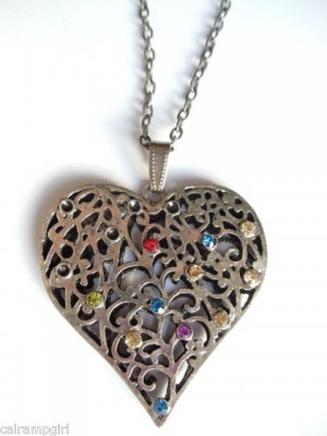 Large Antique Silver Heart Necklace Rainbow crystal stones