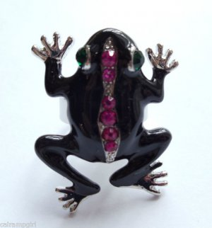 Black Epoxy Fuschia Crystal Silver Frog Cocktail Ring adjustable band