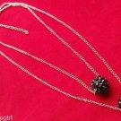 Silver Black Fireball Necklace 2 Line
