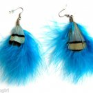 Peacock Feather Earrings Blue