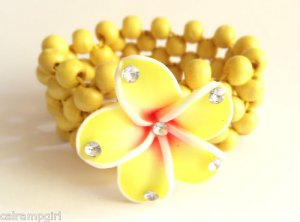 Yellow Plumeria Tropical flower Beaded Bracelet