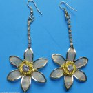 """Gold Mesh Plumeria Flower Earrings with crystals 2 1/2"""""""