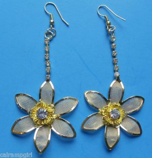 Gold Mesh Plumeria Flower Earrings with crystals 2 1/2""