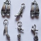 Lot 40 Assorted silver toned Shoes Charms girly fashion