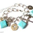 Silver Charm Bracelet cross turquoise stones religious