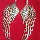 "Large Silver Angel Wings Earrings 4"" with rhinestone studs"