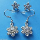 2 Pair Silver Flower Earrings with crystals