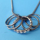 "Multi Rings Necklace Antique Silver 24""  Split Chain"