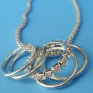 "Multi Rings Necklace Silver 24"" Unique Split Chain"