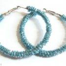 """Blue Seed Beaded Hoop Earrings  2 1/2"""""""