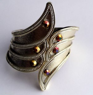 Gold Colored with Gemstone Acrylic Cuff Bracelet
