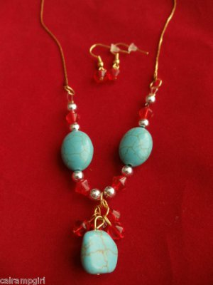 Turquoise Gold Necklace Earrings Set red dangling beads